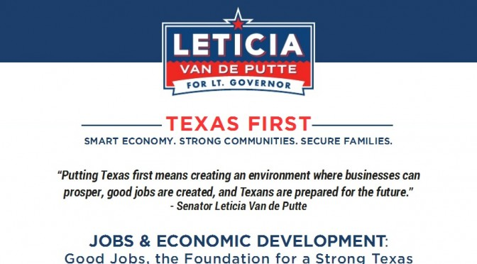 Leticia Van de Putte Releases 'Texas First' Jobs Plan