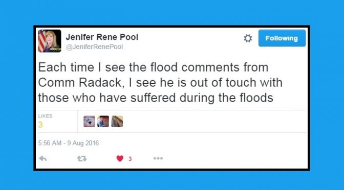 "Pool Condemns Radack's ""People Enjoy Floods"" Comment"