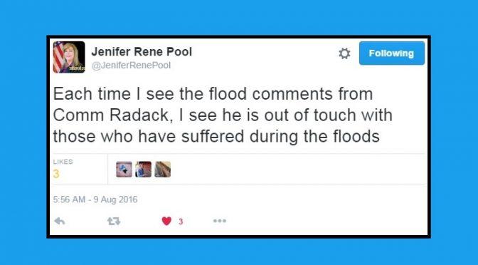 "Pool Condemns Radack's ""People Enjoy Floods"" Comment"